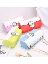 Frosted Contrast Color Chain Bag For Women