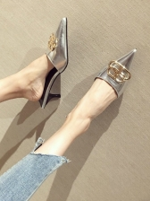 Mental Splicing Pointed Slip On Heels For Women