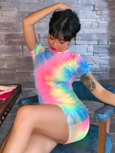 Leisure Tie Dye Short Sleeve Dresses For Women