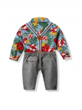 Single-Breasted Flower Shirt With Long Overall