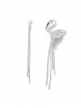 Asymmetry Swan Tassels Pattern Women Earrings