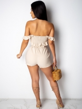 Off The Shoulder Button Up Solid Woman Outfits