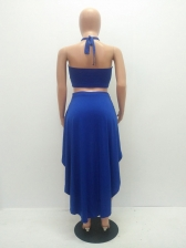 Halter Solid Skirt And Top Co Ord