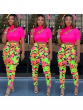 Contrast Color Printed Trousers For Women