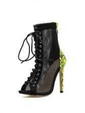 Roman Style Snake Print Patchwork Lace Up High Heels