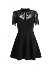 Sexy Low-Cut Lace Panel Fitted a-Line Dress