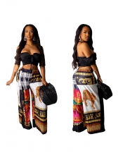Color Block Leopard Printed Wide Leg Pants