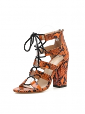 Roman Snake Printed Chunky Heels Strappy Sandals