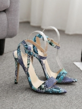 Colorful Snake Printed High Heeled Sandals