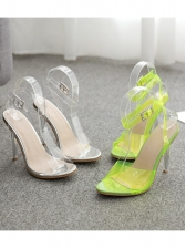 Fashion Crystal Ankle Buckle High Heeled Sandals