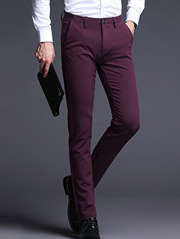 Versatile Solid Color Fitted Trousers For Men
