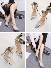 Pointed Snake Print PVC Strappy Pumps
