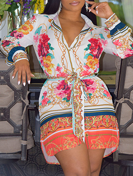 National Style Contrast Color Printed Long Sleeve Dress