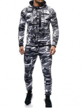 Camouflage Hooded Collar Activewear Men Suit