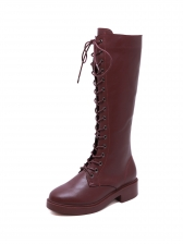 Side Zipper Lace Up Mid Calf Boot