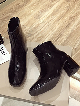 PU Square Toe Thick High Heel Boot