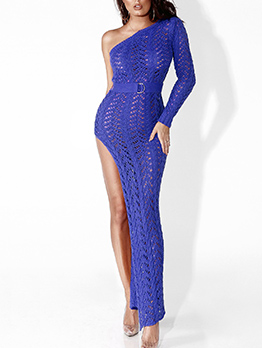 One Shoulder High Split Knitting Maxi Dress