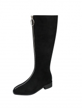 Solid Zipper Up Low Heel Mid Calf Boots