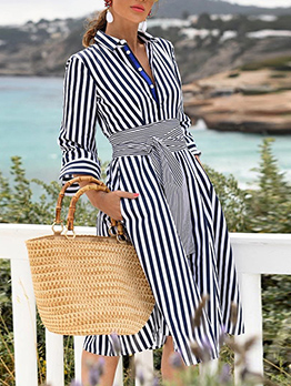 Leisure Striped Button Down Long Sleeve Dress