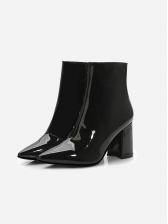 Specular Pu Pointed Toe Chunky Heels Ankle Boots