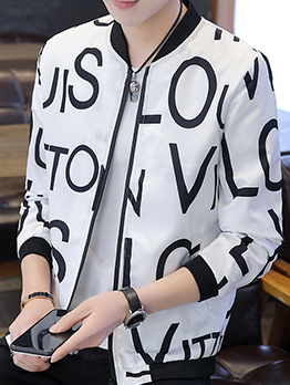 Stylish Letter Graffiti Printed Jackets For Men