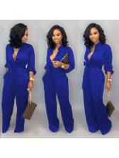 Sexy Solid Long Sleeve Tie Wrap Wide Leg Jumpsuit