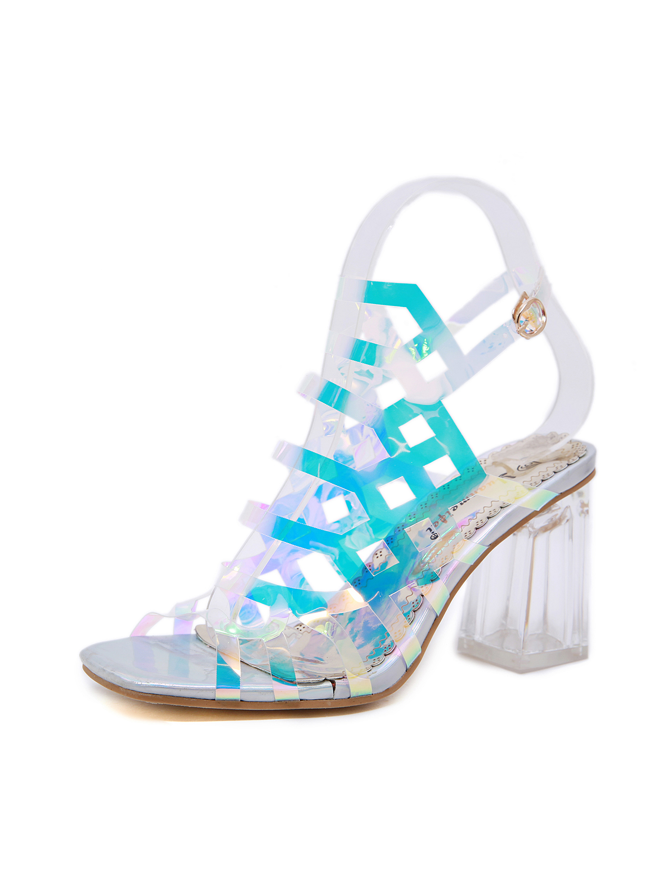 Hollow Out Transparent Square Toe Buckle Strap Chunky Sandal