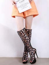 Rhinestone Hollow Out Stiletto Knee High Boots