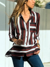Multicolored Striped Pocket Patchwork Ladies Shirt