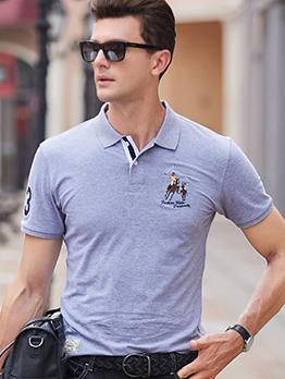 Embroidered Short Sleeve Polo T-shirts For Men