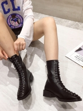 Solid Bandage Zipper Up Thick High Heel Boot