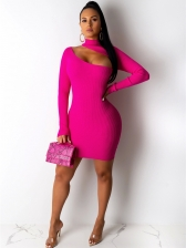 Inclined Shoulder Long Sleeve Bodycon Mini Dress