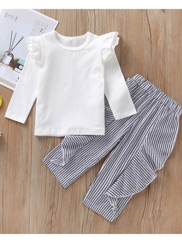 Solid Long Sleeve Top Striped Pants Matching Sets