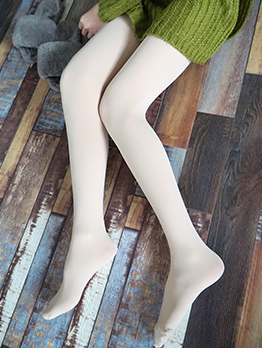 Pure Color Elastic Long Pantyhose For Women