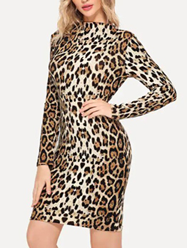 New Style Leopard Ladies Long Sleeve Dress