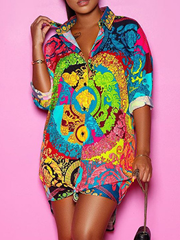 Single-Breasted Printed Long Sleeve Shirt Dress