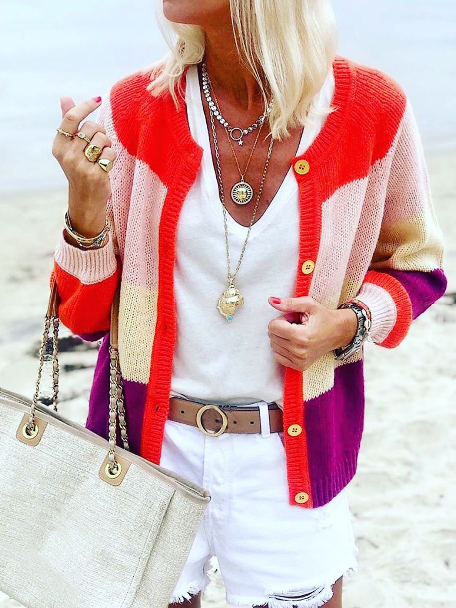 Single-Breasted Contrast Color Women Knit Cardigan