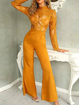 Perspective Lace Stitching Bell Bottom Jumpsuit