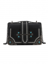 Fashion Metal Splicing Chain Cross Shoulder Bag