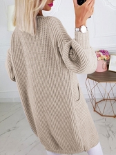 Two Pockets Knitting Mid-Length Women Cardigan