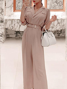 Ladies Solid Color Half Sleeve Wide Leg Jumpsuit