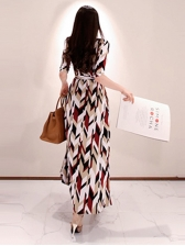 V Neck Geometric Printed Tie Wrap Split Hem Maxi Dress