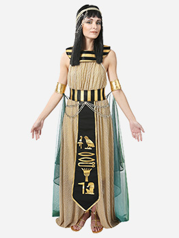 Egyptian Queen Patchwork Maxi Dress Halloween Costumes