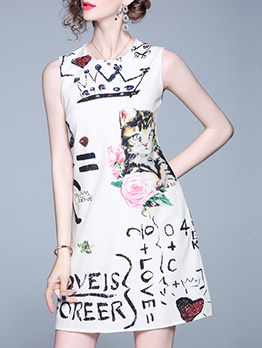 Cartoon Printed Fitted Sleeveless A-Line Dress