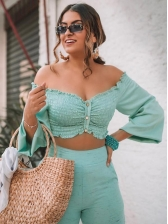 Off Shoulder Cropped Top Long Sleeve Tube Top