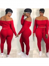 Solid Off Shoulder Long Sleeve 2 Piece Outfits
