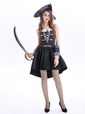 High Low Sleeveless Dress Pirate Captain Halloween Costumes
