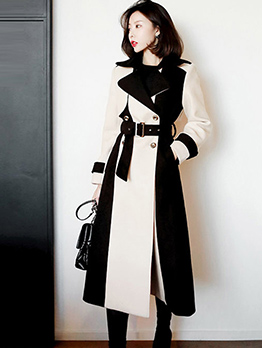 Ol Style Stitching Color Woollen Long Coat With Belt