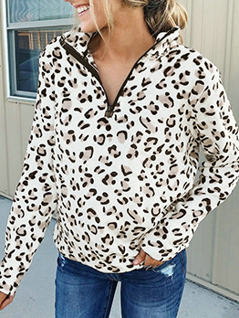 Leopard Printed Zipper Thick Long Sleeve Shirt