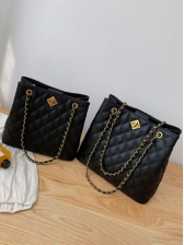 Two Size Stitches Rhombus Pattern Chain Shoulder Bag